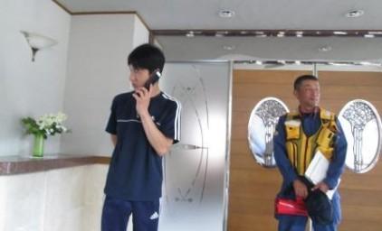 """消防車をお願いします""""! 通報訓練もドキドキです。"""
