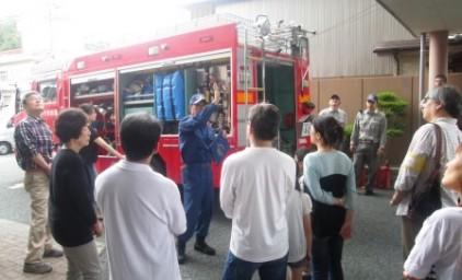 消防車の説明は皆さん興味津々です!