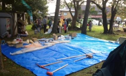 町内会で備えている防災用品の展示がありました。各家庭ではどうでしょうか?