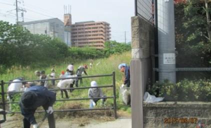 側溝清掃班と草刈班に分かれて作業しました